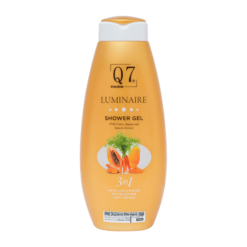 Q7Paris Luminaire 3-in-1 Shower gel with Carrot, Papaya, and Turmeric Extracts – 750ml
