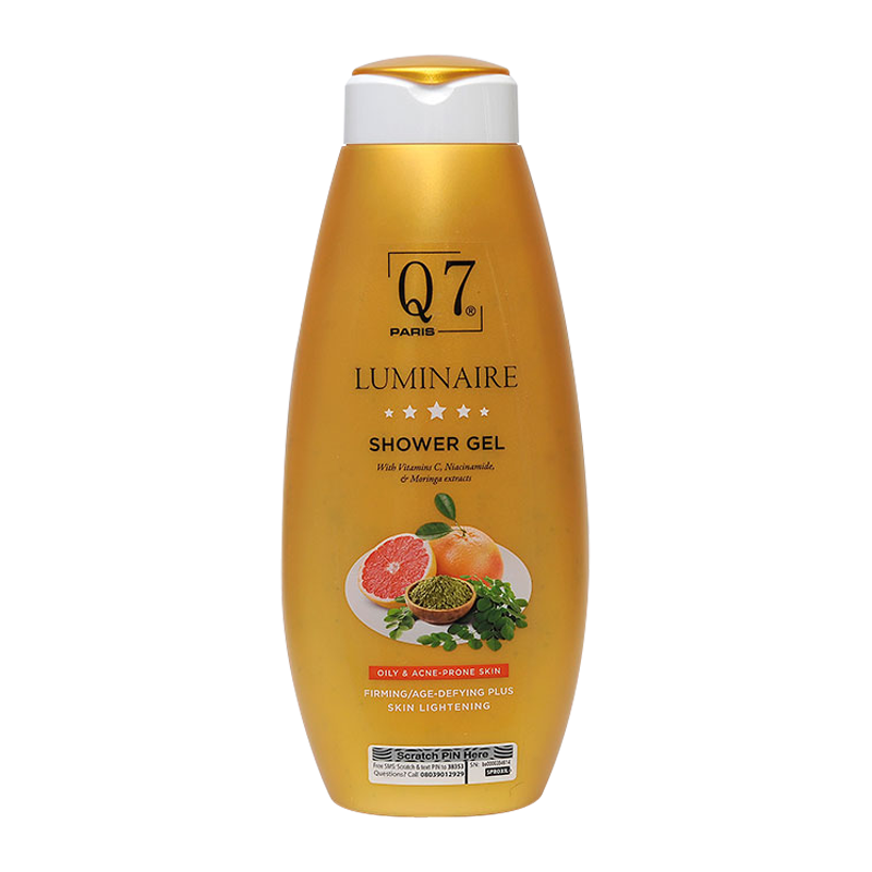 Q7 Paris Luminaire Sensitive, Oily & Acne Prone Skin Shower gel with Vitamin C, Niacinamide and Moringa Extracts – 750ml