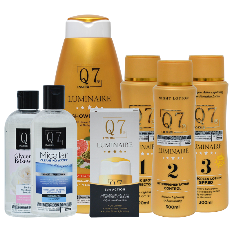 Q7Paris The Luminaire Intensive Lightening Bundle: 7-in-1: Oily, Acne-Prone and  Sensitive Skin
